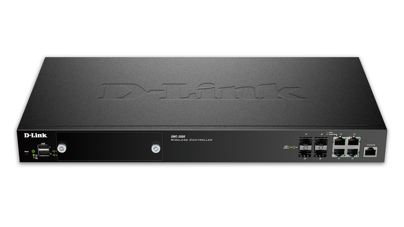 D-Link - D-Link DWC-2000 Wireless Controller - Network management device - 4 ports - 64 MAPs (managed access points) - 10Mb LAN, 100Mb LAN, GigE - 1U