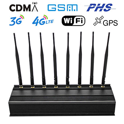 Cell Phone Signals Power Jammer Adjustable 8 Bands WiFi GPS