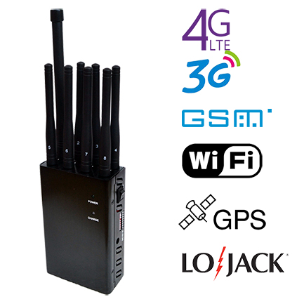 N8B 4W High Power Portable 8 Bands Cell Phone GPS WiFi Lojack Jammer